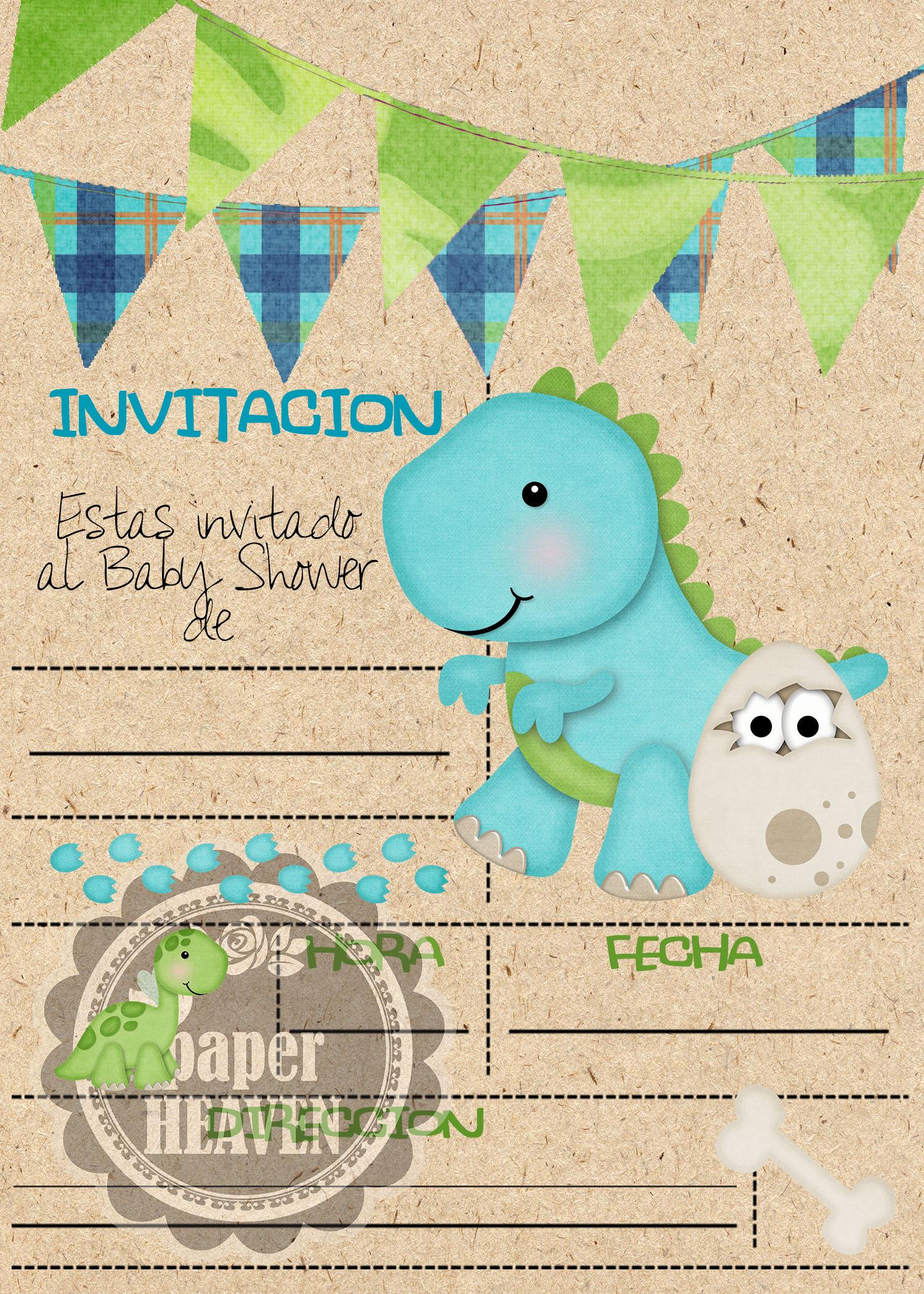 Super Tiernas Invitaciones Baby Shower · Bb Dinosaurio ...