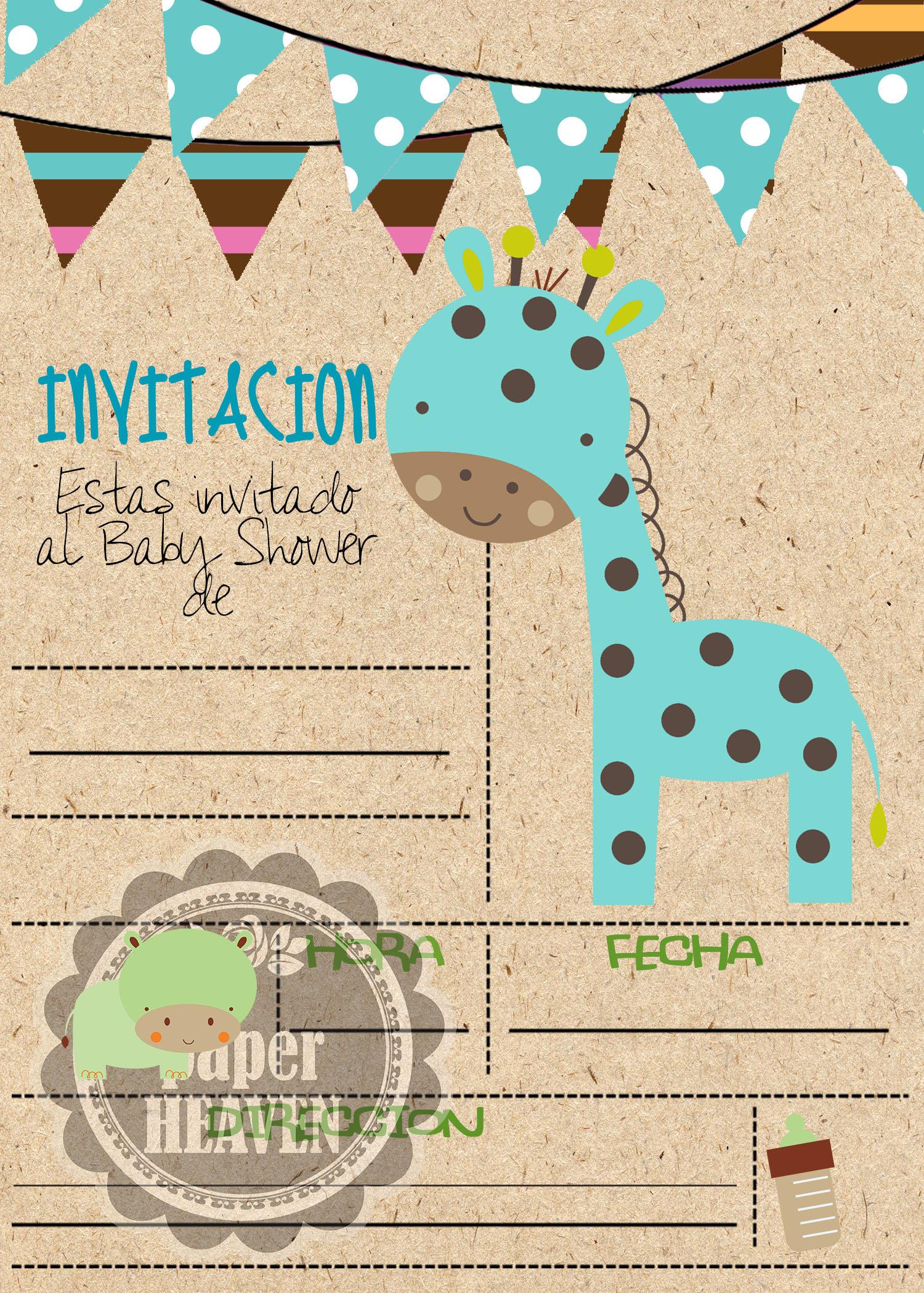 Super Tiernas Invitaciones Baby Shower · Bb Dinosaurio Bb Jirafa ...